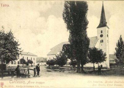 Pohľad na murovaný kostol v Tvrdošíne.